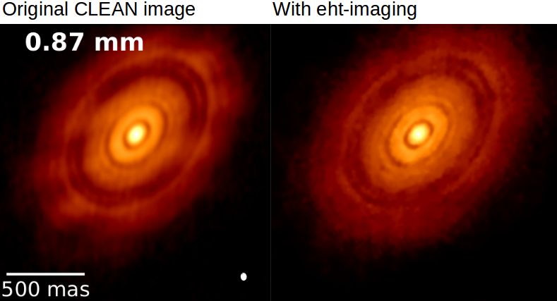 Reconstruction of an ALMA image of HL Tau using traditional CLEAN vs eht-imaging.