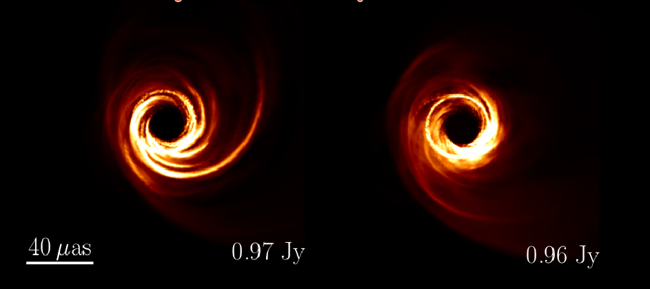 Images from my MAD simulations of M87 using damped turbulence (left) and magnetic reconnection (right)